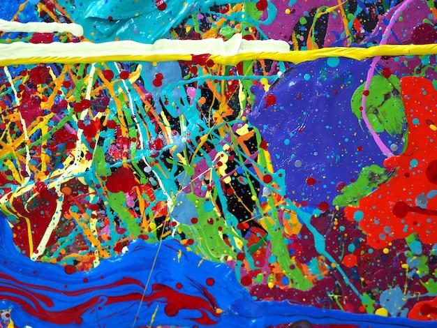 Peinture à l'huile dessinée à la main. peinture à l'huile sur toile. fond multicolore. Photo Premium