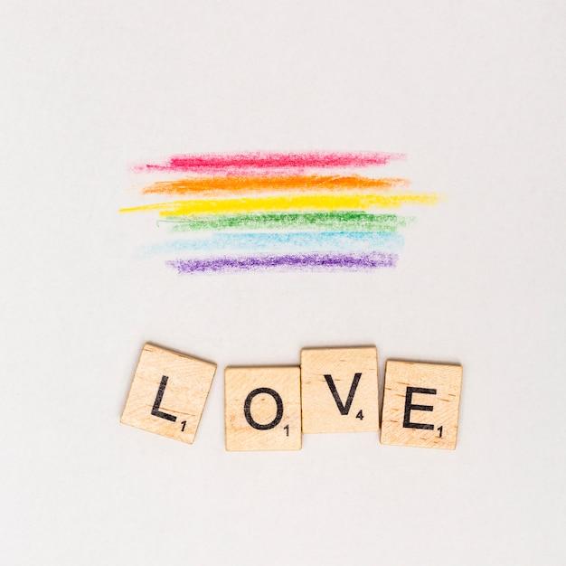 Peinture lgbt abstraite multicolore et texte love Photo gratuit