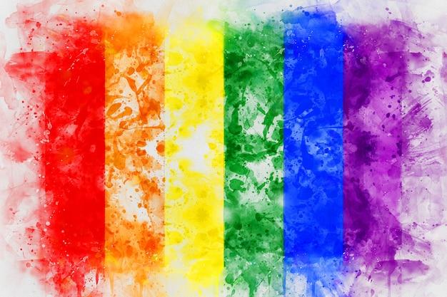 Peinture numérique de drapeau arc-en-ciel lgbt. Photo Premium