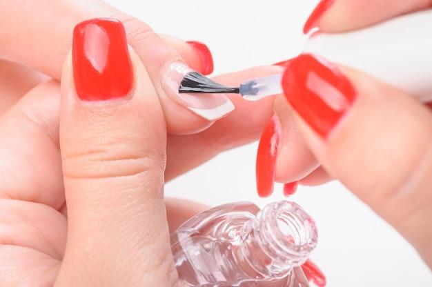 Peinture transparente pour ongles manucure Photo Premium