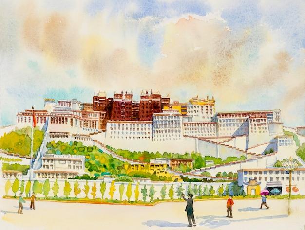Peintures à L'aquarelle Du Palais Du Potala à Lhassa Au Tibet Photo Premium