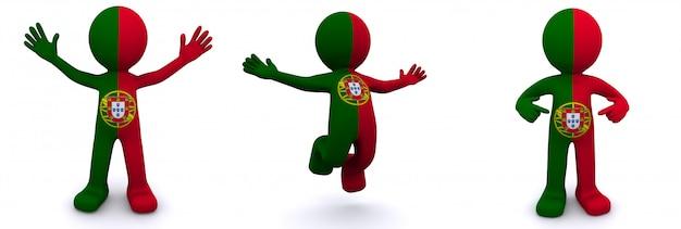 Personnage 3d Texturé Avec Le Drapeau Du Portugal Photo Premium
