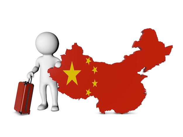 Personnage Blanc Avec Valise Visite La Chine Photo Premium