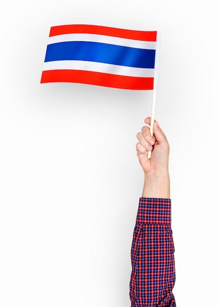 Personne agitant le drapeau du royaume de thaïlande Photo gratuit