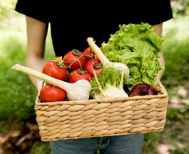 Personne, Tenue, Seau, Légumes, Devant, Vue Photo gratuit