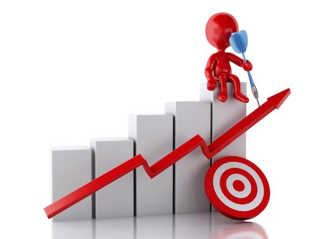 Personnes rouges 3d avec graphique statistique de l'entreprise et cible rouge. Photo Premium