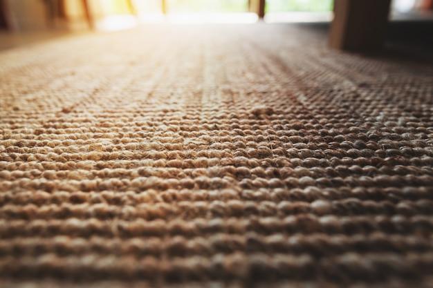 Perspective close-up beige tapis texture plancher de salon Photo Premium
