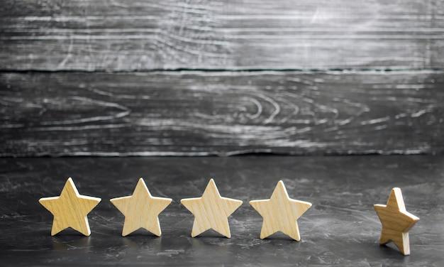La perte de la cinquième étoile du restaurant ou de l'hôtel. la baisse de notation et de reconnaissance. Photo Premium