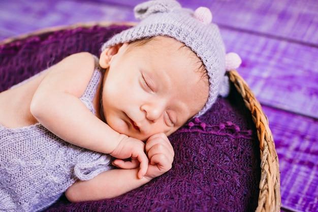 Le petit bébé se trouve dans le panier Photo gratuit