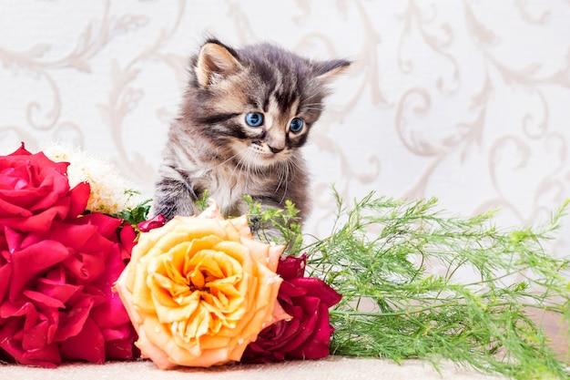 Petit Chaton Rayé Avec Un Bouquet De Fleurs. Félicitations Pour Votre Anniversaire Ou D'autres Vacances Photo Premium