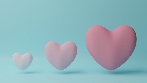 Petit Coeur Rose à Grand Coeur Rose Avec Table Cyan. Concept De La Saint-valentin. Illustration De Rendu 3d. Photo Premium