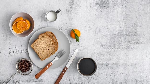 Petit-déjeuner Plat Et Café Avec Espace Copie Photo gratuit