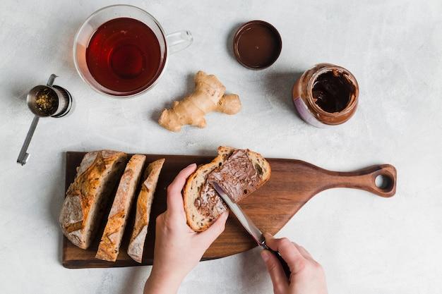 Petit déjeuner avec thé Photo gratuit