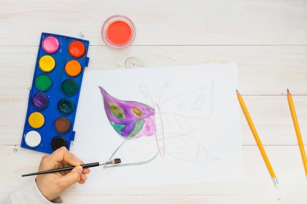 Petit enfant peignant un papillon sur une page blanche avec aquarelle Photo gratuit