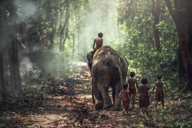 Petit garçon et fille asiatique, campagne en thaïlande Photo Premium