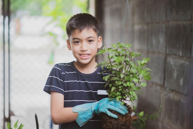 Petit garçon de race mélange asiatique plantant des légumes jardinage à la maison Photo Premium