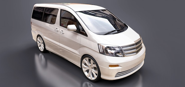 Petit monospace blanc pour le transport de personnes. rendu 3d. Photo Premium