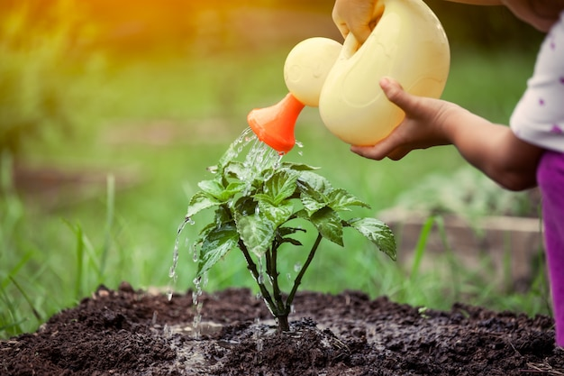 Petite fille, arrosage, jeune arbre, à, arroser pot, dans, ton couleur vintage Photo Premium