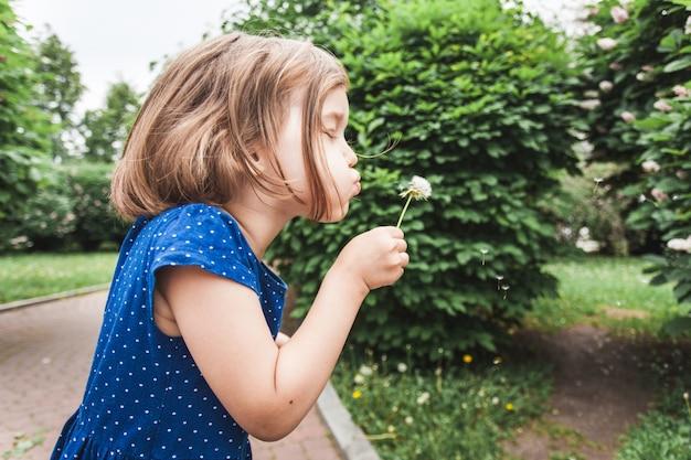 Petite Fille Souffle Pissenlit, Fleur, Branches De Brousse, Verdure, Enfance, été, Communication, Rire Et Jouer Photo Premium