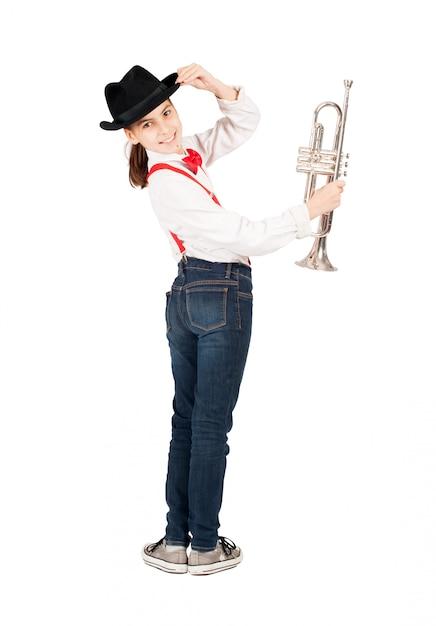 Petite Fille Avec Trompette Photo Premium