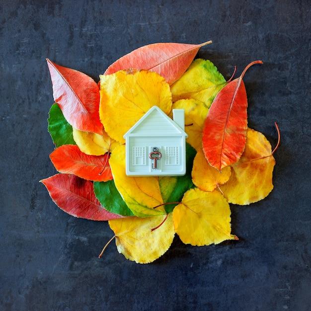 Petite maison de jouet parmi les feuilles d'automne colorées. Photo Premium