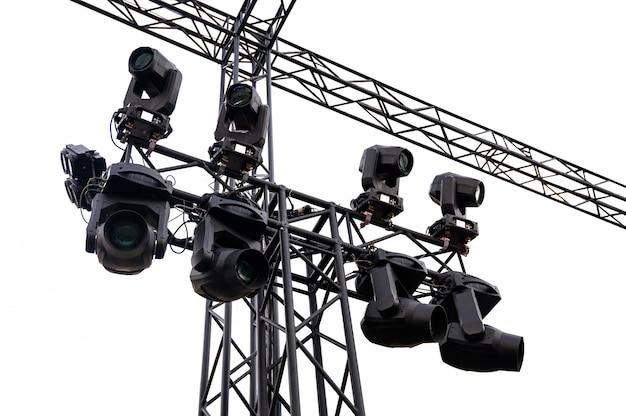 Phares de scène en métal noir avec projecteur Photo Premium