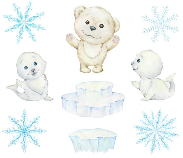 Phoques Mignons, Ours Blanc, Plaques De Glace, Flocons De Neige. Aquarelle, Ensemble D'hiver. Animaux Polaires Mignons. Photo Premium