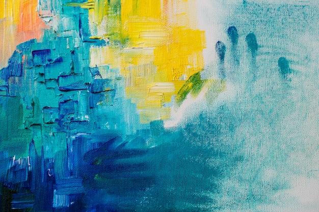La Photo En Gros Plan De Peintures à L'huile Sur Le Mur De Toile Photo gratuit