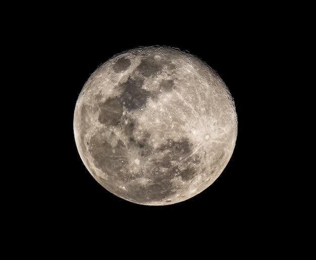 Photo haute résolution de la pleine lune du télescope Photo Premium