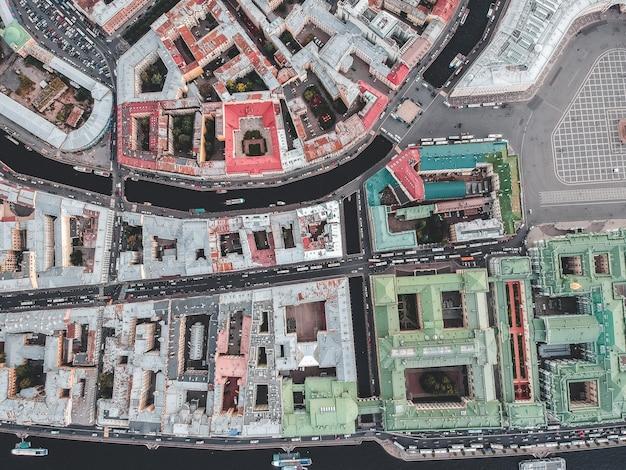 Photographie Aérienne Du Centre-ville Historique, Toits, Saint-pétersbourg, Russie. Photo Premium