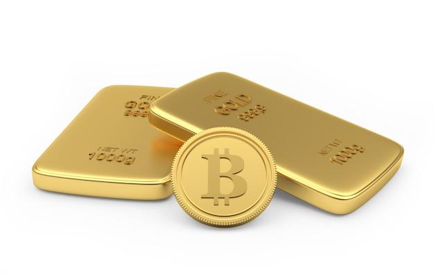 Pièce De Bitcoin Avec Deux Lingots D'or Photo Premium