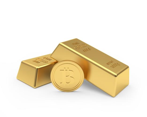 Une Pièce De Monnaie Bitcoin Et Deux Lingots D'or Photo Premium