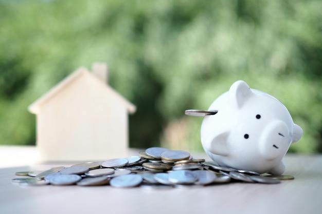 Pièce de monnaie avec tirelire, cochon blanc et modèle de maison Photo Premium