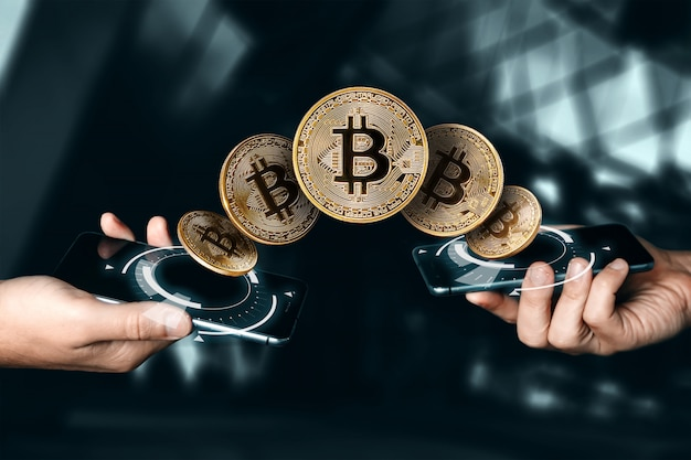 Pièce d'or bitcoin. devise. technologie blockchain. Photo Premium