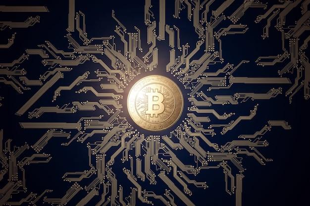 Pièce D'or Bitcoin Sur Fond Noir. Photo Premium