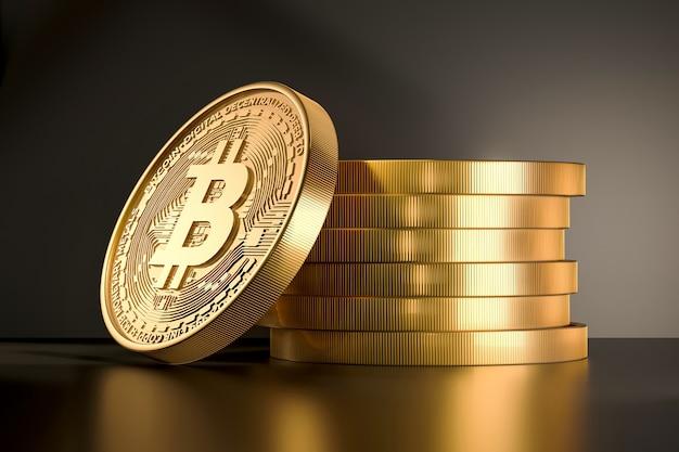 Pièce d'or avec signe de bitcoin. rendu 3d crypto-monétaire. Photo Premium