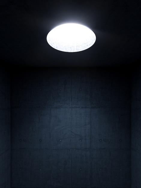 Pièce Sombre Avec Des Murs En Béton Et Une Ouverture Circulaire Dans Le Plafond à Travers Laquelle Pénètre La Lumière. Photo Premium