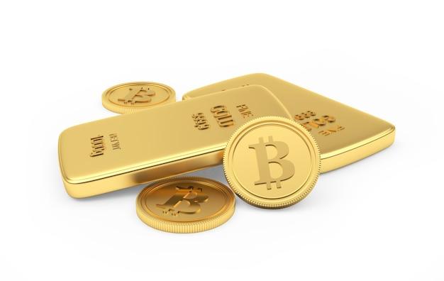 Pièces De Monnaie Bitcoin Avec Des Lingots D'or Photo Premium
