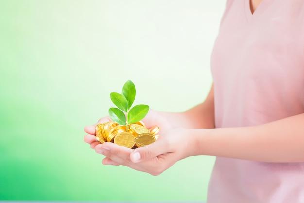 Pièces de monnaie en main, épargne, concept de croissance d'entreprise Photo Premium