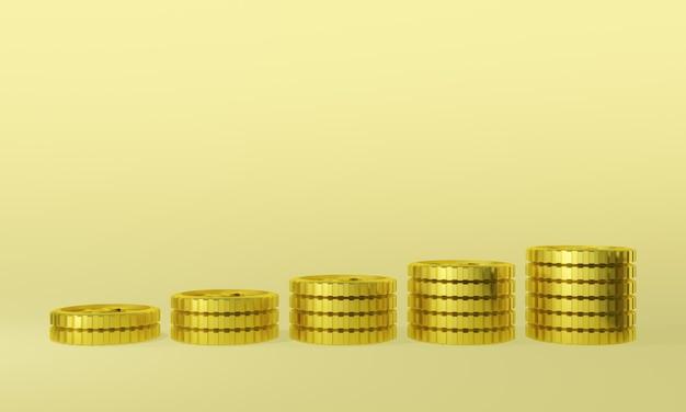 Pièces D'or En Rendu 3d. Profit D'argent. Photo Premium
