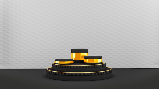 Piédestal Avec Des Formes De Cercle Noir Et Or Photo Premium