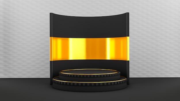 Piédestal Avec Scène Noir Et Or Photo Premium