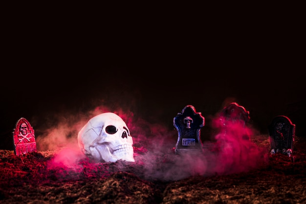 Pierres Tombales Et Crâne Entre Le Brouillard Rose Sur Le Sol Photo Premium