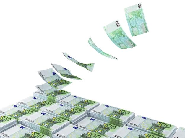 Pile 3d D'euros Pilling Up Photo Premium
