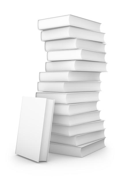 Une pile de livres sur un fond blanc. rendu 3d Photo Premium