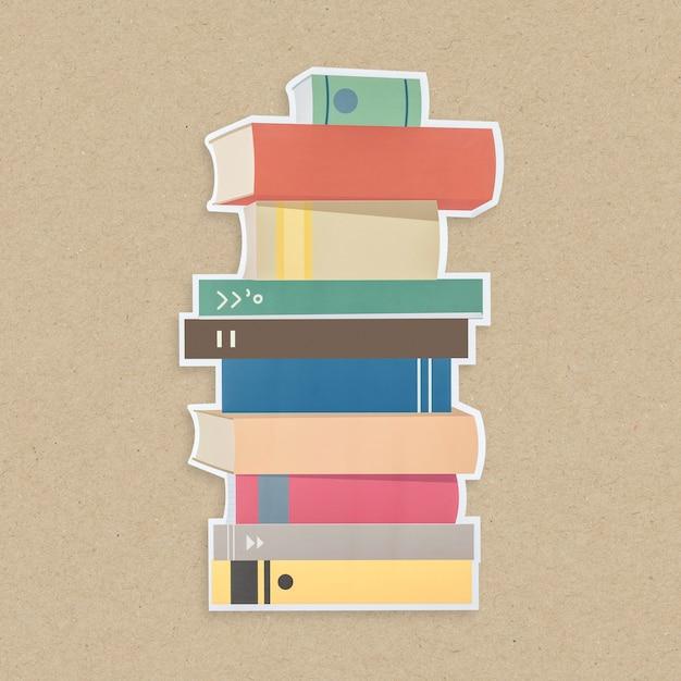 Pile de livres icône isolé Photo gratuit