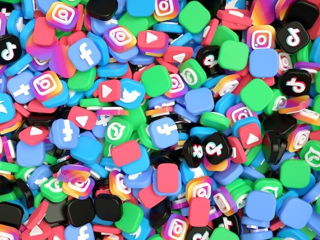 Pile De Logos De Médias Sociaux Photo Premium