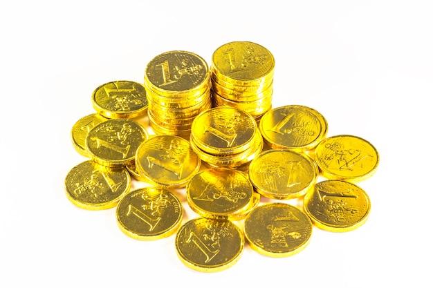 Pile de pièces d'or Photo Premium