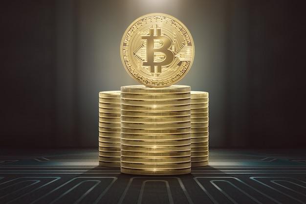 Piles de bitcoins debout Photo Premium