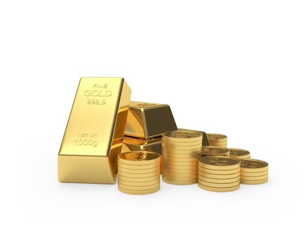 Des Piles De Pièces De Monnaie Bitcoin Et De Lingots D'or Photo Premium